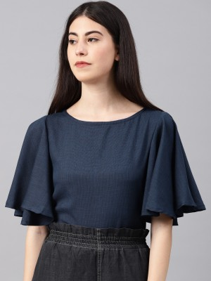 NUSH Casual Batwing Sleeve Solid Women's Blue Top