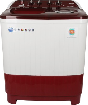 Lloyd 7.5 kg Semi Automatic Top Load Washing Machine White, Maroon(GLWMS75RDB) at flipkart