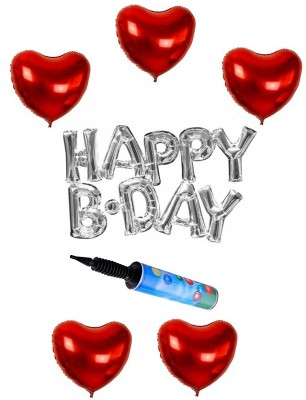 De-Ultimate Silver Color Happy B.DAY Letter/Alphabet Foil Balloons for Birthday Parties with Pack of 5 Red Heart Shape 3D Balloon And Portable Hand Held Air Pump