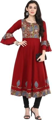22001537a Yash Gallery Women Patchwork Anarkali Kurta(Maroon)