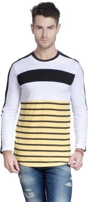 Yo Republic Striped Men's Round Neck White T Shirt
