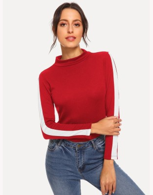 Real fashion Party Full Sleeve Solid Women Red Top