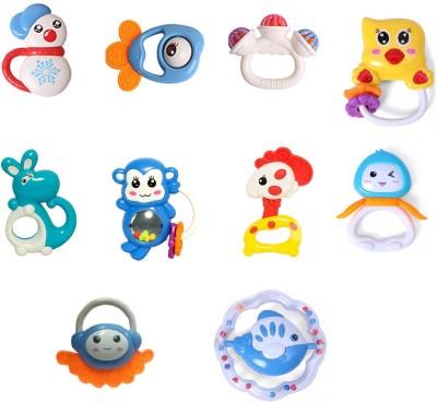 Pepperonz Rattle Teether Set Baby Toys 10pcs Shake Baby Hand Development Rattle Toys Newborn Infant Giant Bottle Gift Rattle(Multicolor)