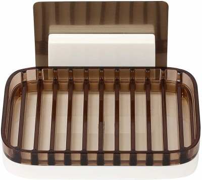 Online World Plastic Magic Sticker Series Self Adhesive Square Soap Holder for Bathroom with Drip Stop Tray(Brown)