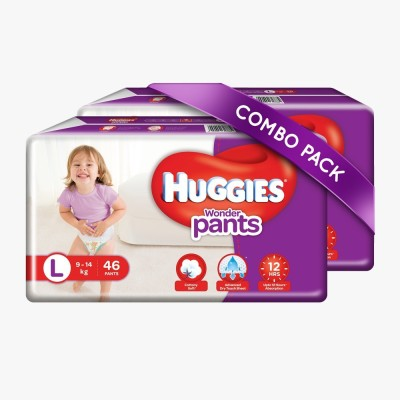 Huggies Wonder Pants Large Size Diapers Combo Pack Of 2, 46 Counts Per Pack (92 Counts) - L (92 Pieces)