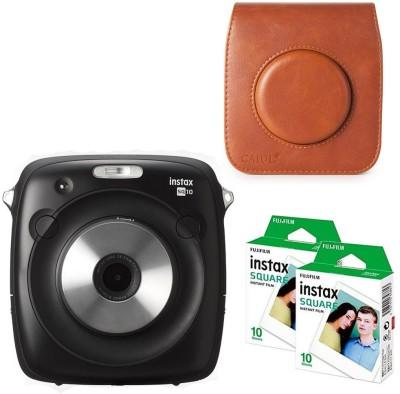 Fujifilm Instax Square SQ10 with brown case 20 Shots Instant Camera(Black)