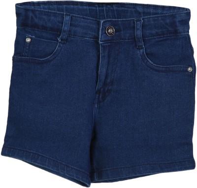 Kirosh Short For Girls Casual Solid Denim(Light Blue, Pack of 1)