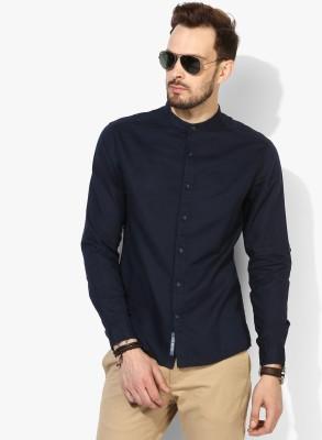 People Men Solid Casual Dark Blue Shirt