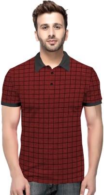 Tripr Checkered Men Polo Neck Red, Black T-Shirt