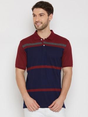 Jangoboy Color Block Men Hooded Neck Blue, Maroon T-Shirt(Pack of 2)