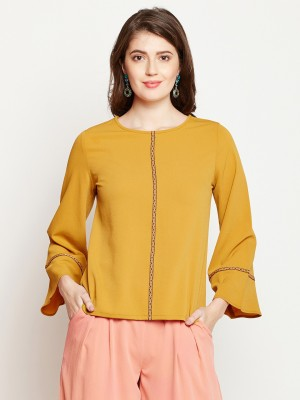 Rare Casual Kimono Sleeve Solid Women Yellow Top