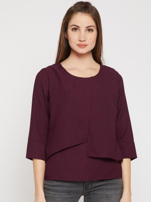 Rare Casual 3/4th Sleeve Solid Women's Maroon Top