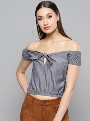 Rare Casual Short Sleeve Solid Women Grey Top
