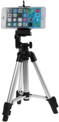Zeom ™ Portable Aluminum Stand 3 Way Head For Digital Camera Camcorder with Mobile Holder Tripod(Black, Supports Up to 3000 g) Tripod(Black, Silver, Supports Up to 1500 g) 1