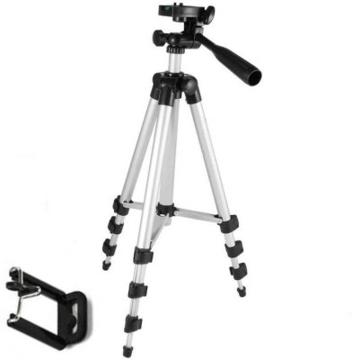 Zeom ™ Tripod-3110 Portable Adjustable Tripod with Mobile Holder Mount Aluminum Lightweight Camera Stand Mobile Stand Selfie Stand With Three-Dimensional Head & Quick Release Plate Tripod(silverblack, Supports Up to 1500) Tripod(Black, Silver, Supports Up to 1500 g) 1