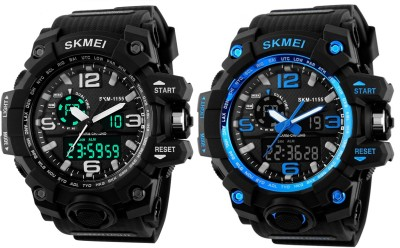 SKMEI 1155 Black + 1155 Blue Analog Digital Watch   For Men SKMEI Wrist Watches