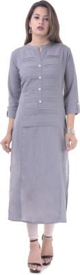Febia Casual Solid Women Kurti(Grey)
