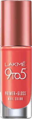 Lakme 9 to 5 Primer + Gloss Nail Color Orange Coat