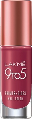 Lakme 9 to 5 Primer + Gloss Nail Color Berry Business