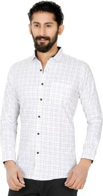 XBOYZ Men's Checkered Casual White Shirt