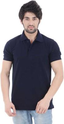 czech Solid Men Polo Neck Black T Shirt