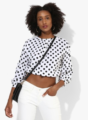 People Casual 3/4th Sleeve Polka Print Women's White Top
