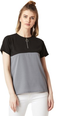 Miss Chase Casual Short Sleeve Solid Women Black, Grey Top