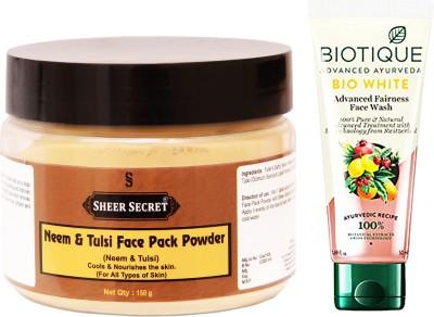 Sheer Secret Neem & Tulsi Face Pack Powder 150gm and Bio White Face Wash 100ml(Set of 2)