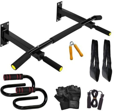 ARRUNS Combo19 -Chin Up Bar/Push Up Bar/Ab Strap and Fitness Accessory Gym & Fitness Kit