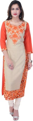 Style N Shades Women Embroidered Straight Kurta(Multicolor)