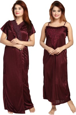 Shopping Station Women Nighty with Robe(Maroon)