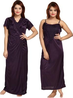Shopping Station Women Nighty with Robe(Purple)