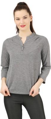 LAYA Casual Full Sleeve Printed Women Grey Top