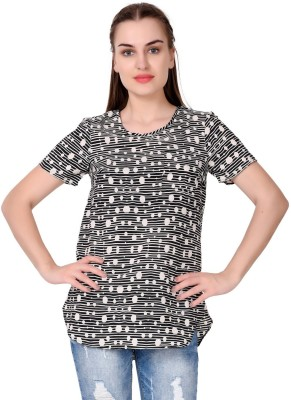 MansiCollections Casual Short Sleeve Solid Women Black Top