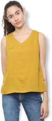 Van Heusen Casual Sleeveless Solid Women's Yellow Top