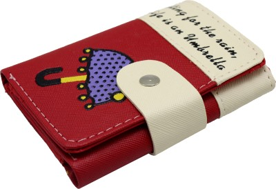 NIKUSH Women Casual Red, White Artificial Leather Card Holder(3 Card Slots)