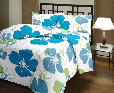 SHOPBITE Floral Double Dohar(Poly Cotton, Blue)