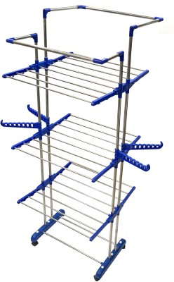 LAKSHAY Desire Collapsible Clothes Drying Rack 3-Tier Folding Laundry Dryer Hanger Stainless Steel Floor Cloth Dryer Stand (BLUE / sky blue) Stainless Steel, Polypropylene Floor Cloth Dryer Stand(Multicolor)