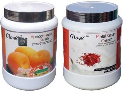 Glow Right APRICOT FACIAL SCRUB With MALAI KESAR CREAM(Set of 2)