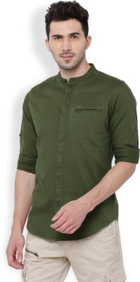 LocomotiveMen Solid Casual Mandarin Shirt Locomotive Casual   Party Wear Shirts