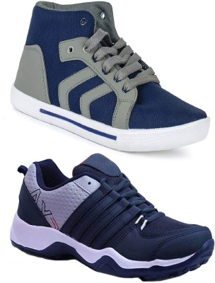 Chevit Pack of 02 Pairs High Tops High Tops For Men(Blue, Grey)