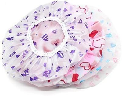 Sadvidhya Flower Print Waterproof Elastic Band Bathing Caps Plastic Bathroom Shower Caps