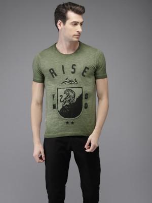Flying Machine Printed Men Round Neck Green T Shirt