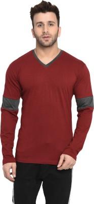 Zallen Color Block Men V Neck Reversible Maroon, Grey T-Shirt