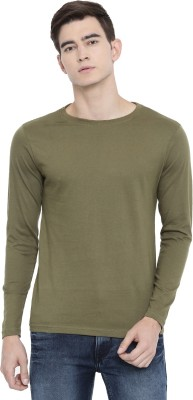 Rodid Solid Men Boat Neck Light Green T Shirt