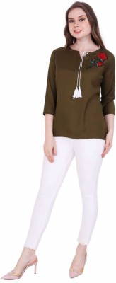 STC Casual 3/4th Sleeve Embroidered Women's Dark Green Top