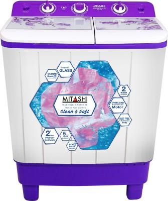 Mitashi 7.2 kg Semi Automatic Top Load Washing Machine White, Purple(MiSAWM72v45 GL) (Mitashi)  Buy Online