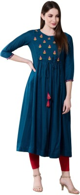 Janakdulari Creation Women Embroidered Anarkali Kurta(Dark Blue) at flipkart