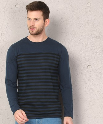 Metronaut Striped Men Round Neck Blue T-Shirt