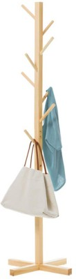 House of Quirk Bamboo Coat and Hat Rack 8 Hooks Coat Stand Clothes Rack Solid Feet for Clothes Scarves and Hats - Beige Bamboo Coat and Umbrella Stand(Finish Color - Beige)